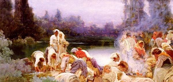 Washerwomen At The Rivers Edge